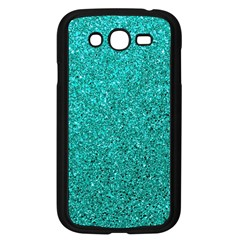 Aqua Glitter Samsung Galaxy Grand Duos I9082 Case (black) by snowwhitegirl