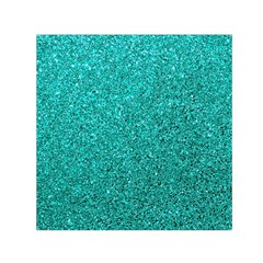 Aqua Glitter Small Satin Scarf (square)