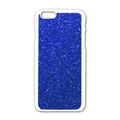 Blue Glitter Apple Iphone 6/6s White Enamel Case