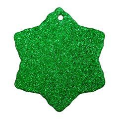 Green Glitter Snowflake Ornament (two Sides)