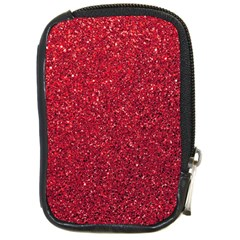 Red  Glitter Compact Camera Leather Case