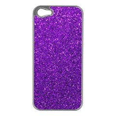 Purple  Glitter Apple Iphone 5 Case (silver)