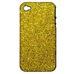 Gold  Glitter Apple Iphone 4/4s Hardshell Case (pc+silicone)