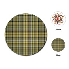 Yellow Plaid Playing Cards (round)
