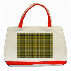 Yellow Plaid Classic Tote Bag (red)