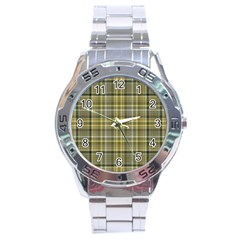 Yellow Plaid Stainless Steel Analogue Watch