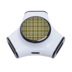 Yellow Plaid 3 Port Usb Hub