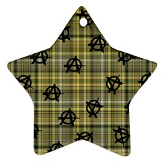 Yellow Plaid Anarchy Ornament (star)