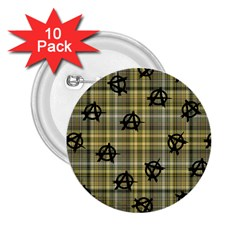 Yellow Plaid Anarchy 2 25  Buttons (10 Pack)  by snowwhitegirl