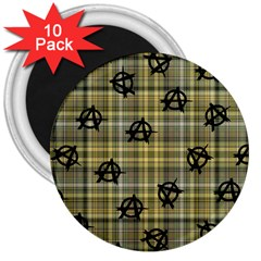 Yellow Plaid Anarchy 3  Magnets (10 Pack)