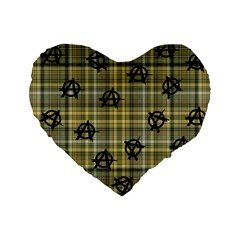 Yellow Plaid Anarchy Standard 16  Premium Flano Heart Shape Cushions