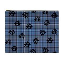 Blue  Plaid Anarchy Cosmetic Bag (xl)