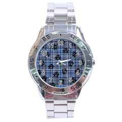 Blue  Plaid Anarchy Stainless Steel Analogue Watch