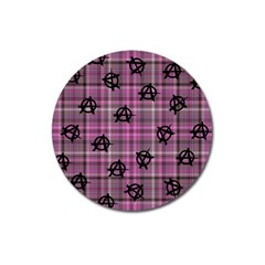 Pink  Plaid Anarchy Magnet 3  (round)
