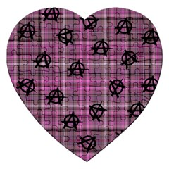 Pink  Plaid Anarchy Jigsaw Puzzle (heart)
