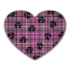 Pink  Plaid Anarchy Heart Mousepads
