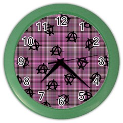 Pink  Plaid Anarchy Color Wall Clock