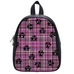 Pink  Plaid Anarchy School Bag (small)