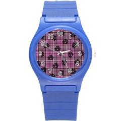 Pink  Plaid Anarchy Round Plastic Sport Watch (s)