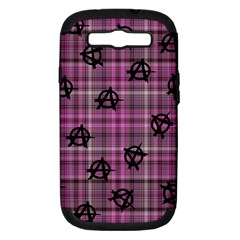 Pink  Plaid Anarchy Samsung Galaxy S Iii Hardshell Case (pc+silicone)