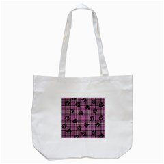 Pink  Plaid Anarchy Tote Bag (white) by snowwhitegirl