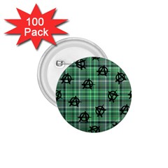 Green  Plaid Anarchy 1 75  Buttons (100 Pack)