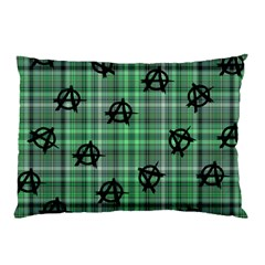 Green  Plaid Anarchy Pillow Case (two Sides)