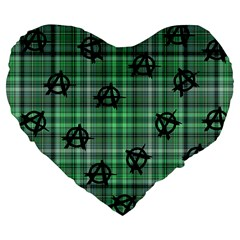 Green  Plaid Anarchy Large 19  Premium Flano Heart Shape Cushions