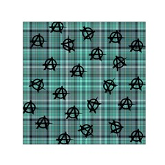 Aqua  Plaid Anarchy Small Satin Scarf (square)