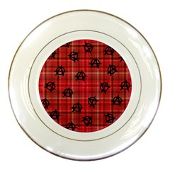 Red Plaid Anarchy Porcelain Plates