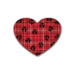 Red Plaid Anarchy Rubber Coaster (heart)