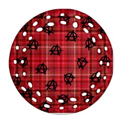 Red Plaid Anarchy Ornament (round Filigree)
