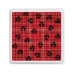 Red Plaid Anarchy Memory Card Reader (square)