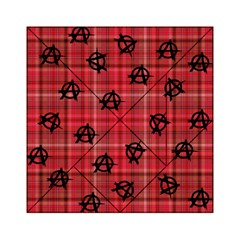 Red Plaid Anarchy Acrylic Tangram Puzzle (6  X 6 )
