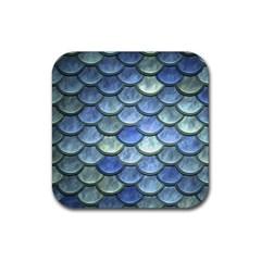 Blue Mermaid Scale Rubber Coaster (square)  by snowwhitegirl