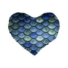 Blue Mermaid Scale Standard 16  Premium Heart Shape Cushions