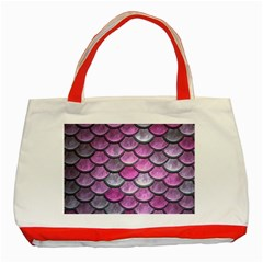 Pink Mermaid Scale Classic Tote Bag (red)