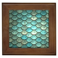 Aqua Mermaid Scale Framed Tiles