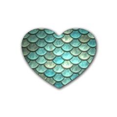 Aqua Mermaid Scale Heart Coaster (4 Pack)  by snowwhitegirl