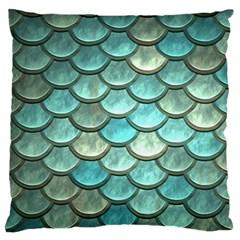 Aqua Mermaid Scale Standard Flano Cushion Case (two Sides) by snowwhitegirl