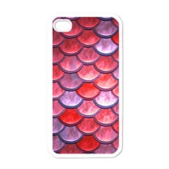 Red Mermaid Scale Apple Iphone 4 Case (white)