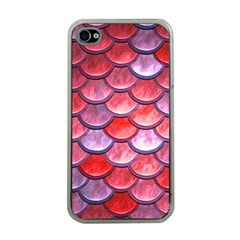 Red Mermaid Scale Apple Iphone 4 Case (clear)