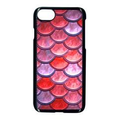 Red Mermaid Scale Apple Iphone 8 Seamless Case (black) by snowwhitegirl