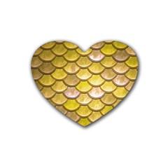Yellow  Mermaid Scale Rubber Coaster (heart)  by snowwhitegirl