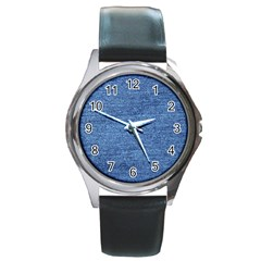 Blue Denim Round Metal Watch