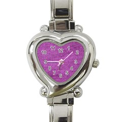 Purple Denim Heart Italian Charm Watch
