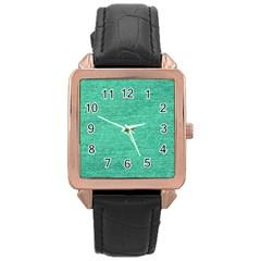 Green Denim Rose Gold Leather Watch