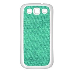 Green Denim Samsung Galaxy S3 Back Case (white)