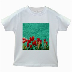 Green Denim Flowers Kids White T Shirts