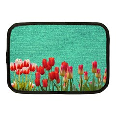 Green Denim Flowers Netbook Case (medium)